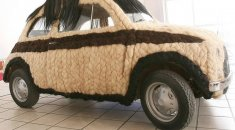 Car covered in human hair