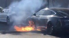Tesla catches fire