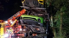 Supercar transporter crash in UK